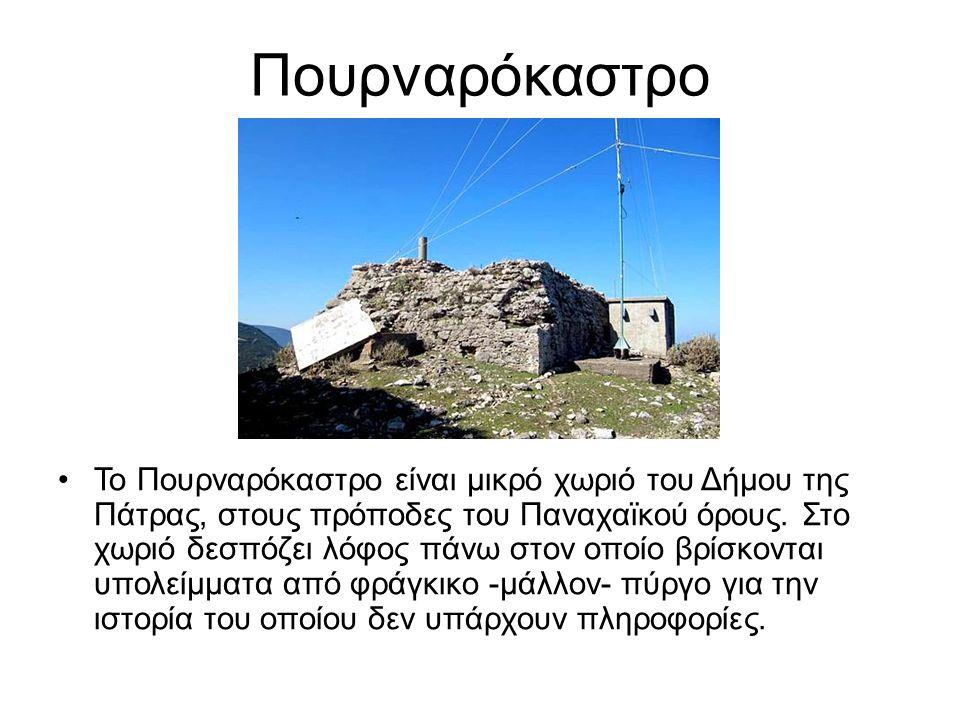 Πουρναρόκαστρο To Πουρναρόκαστρο είναι μικρό χωριό του Δήμου της Πάτρας, στους πρόποδες του Παναχαϊκού όρους. Στο χωριό δεσπόζει λόφος πάνω στον οποίο