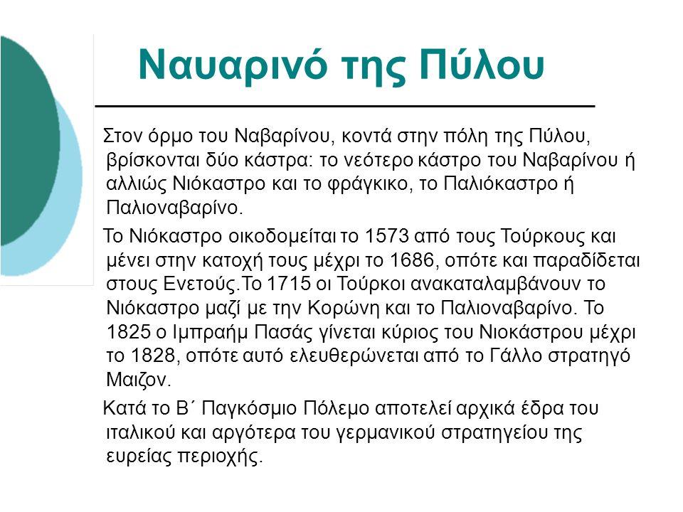 Ναυαρινό της Πύλου Στον όρμο του Ναβαρίνου, κοντά στην πόλη της Πύλου, βρίσκονται δύο κάστρα: το νεότερο κάστρο του Ναβαρίνου ή αλλιώς Νιόκαστρο και τ