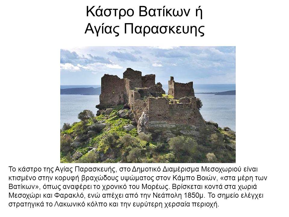Κάστρο Βατίκων ή Αγίας Παρασκευης Το κάστρο της Αγίας Παρασκευής, στο Δημοτικό Διαμέρισμα Μεσοχωριού είναι κτισμένο στην κορυφή βραχώδους υψώματος στον Κάμπο Βοιών, «στα μέρη των Βατίκων», όπως αναφέρει το χρονικό του Μορέως.