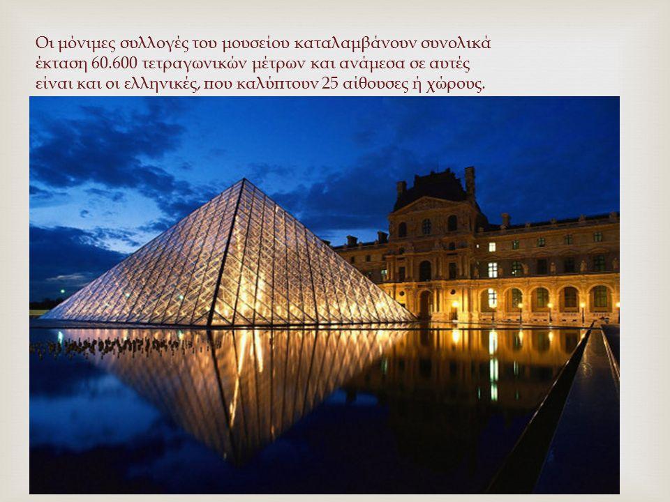 Οι μόνιμες συλλογές του μουσείου καταλαμβάνουν συνολικά έκταση 60.600 τετραγωνικών μέτρων και ανάμεσα σε αυτές είναι και οι ελληνικές, που καλύπτουν 2