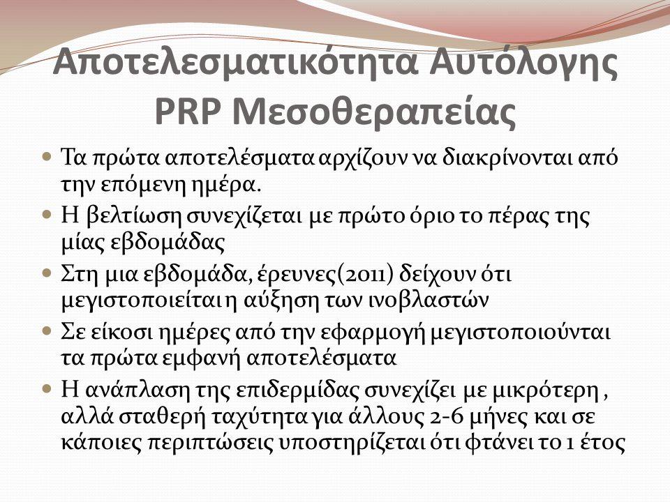 Αποτελεσματικότητα Αυτόλογης PRP Μεσοθεραπείας Τα πρώτα αποτελέσματα αρχίζουν να διακρίνονται από την επόμενη ημέρα.