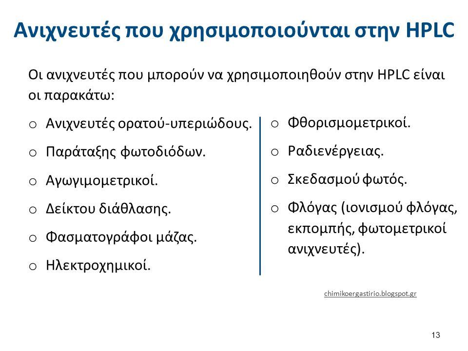 Ανιχνευτές που χρησιμοποιούνται στην HPLC Οι ανιχνευτές που μπορούν να χρησιμοποιηθούν στην HPLC είναι οι παρακάτω: o Ανιχνευτές ορατού-υπεριώδους.