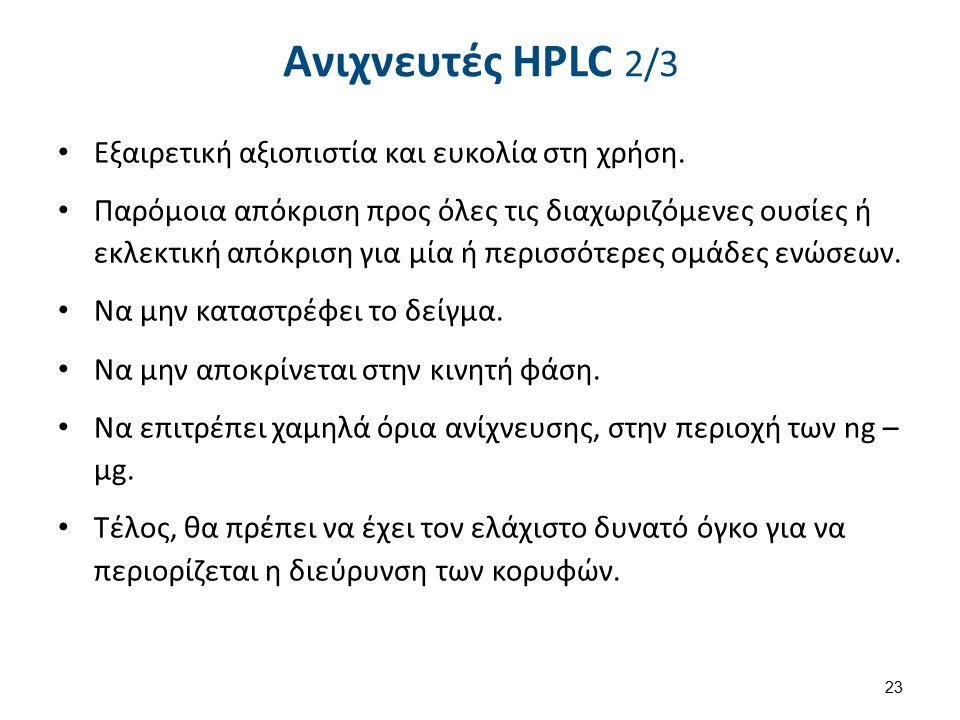 Ανιχνευτές HPLC 2/3 Εξαιρετική αξιοπιστία και ευκολία στη χρήση.