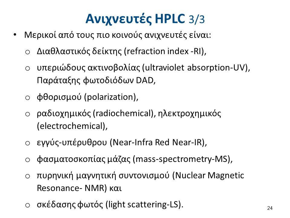 Ανιχνευτές HPLC 3/3 Μερικοί από τους πιο κοινούς ανιχνευτές είναι: o ∆ιαθλαστικός δείκτης (refraction index -RI), o υπεριώδους ακτινοβολίας (ultraviolet absorption-UV), Παράταξης φωτοδιόδων DAD, o φθορισμού (polarization), o ραδιοχημικός (radiochemical), ηλεκτροχημικός (electrochemical), o εγγύς-υπέρυθρου (Near-Infra Red Near-IR), o φασματοσκοπίας μάζας (mass-spectrometry-MS), o πυρηνική μαγνητική συντονισμού (Nuclear Magnetic Resonance- NMR) και o σκέδασης φωτός (light scattering-LS).