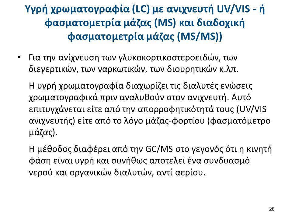 Υγρή χρωματογραφία (LC) με ανιχνευτή UV/VIS - ή φασματομετρία μάζας (MS) και διαδοχική φασματομετρία μάζας (ΜS/MS)) Για την ανίχνευση των γλυκοκορτικοστεροειδών, των διεγερτικών, των ναρκωτικών, των διουρητικών κ.λπ.