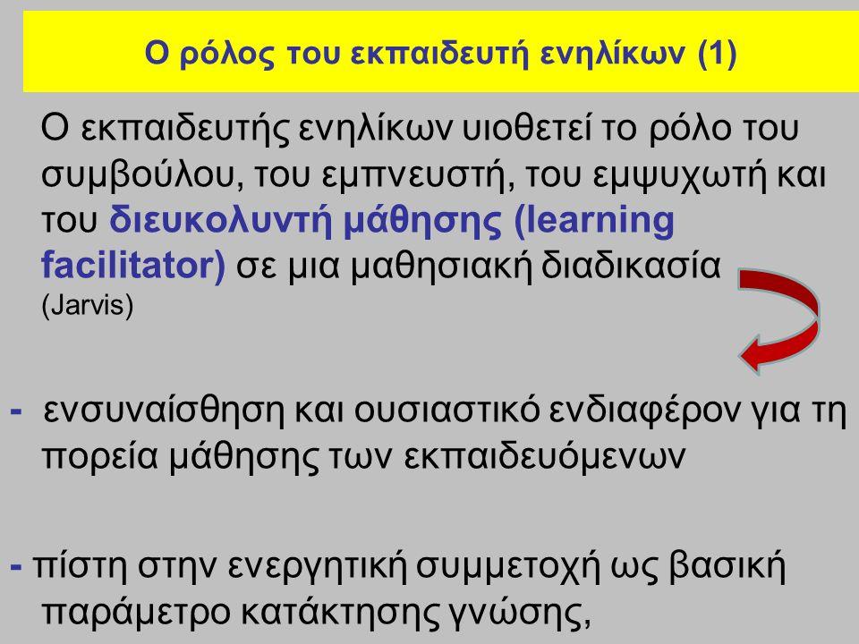Ο ρόλος του εκπαιδευτή ενηλίκων (1) Ο εκπαιδευτής ενηλίκων υιοθετεί το ρόλο του συμβούλου, του εμπνευστή, του εμψυχωτή και του διευκολυντή μάθησης (learning facilitator) σε μια μαθησιακή διαδικασία (Jarvis) - ενσυναίσθηση και ουσιαστικό ενδιαφέρον για τη πορεία μάθησης των εκπαιδευόμενων - πίστη στην ενεργητική συμμετοχή ως βασική παράμετρο κατάκτησης γνώσης,