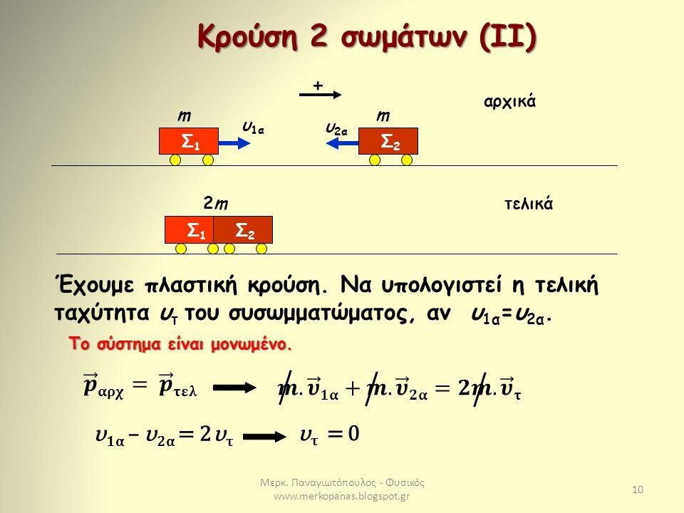 Μερκ. Παναγιωτόπουλος - Φυσικός www.merkopanas.blogspot.gr 10 Κρούση 2 σωμάτων (IΙ) + Σ1Σ1 m υ 1α Σ2Σ2 m υ 2α Σ1Σ1 2m2m Σ2Σ2 αρχικά τελικά Έχουμε πλασ