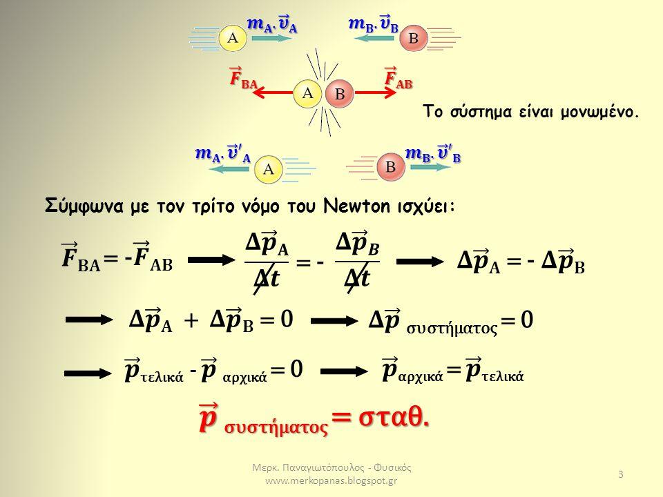 Μερκ. Παναγιωτόπουλος - Φυσικός www.merkopanas.blogspot.gr 3 Σύμφωνα με τον τρίτο νόμο του Newton ισχύει: = - Το σύστημα είναι μονωμένο.