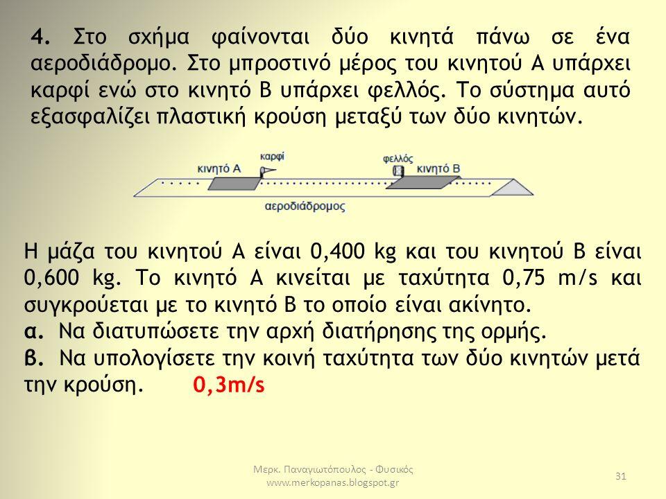 Μερκ. Παναγιωτόπουλος - Φυσικός www.merkopanas.blogspot.gr 31 4. Στο σχήμα φαίνονται δύο κινητά πάνω σε ένα αεροδιάδρομο. Στο μπροστινό μέρος του κινη