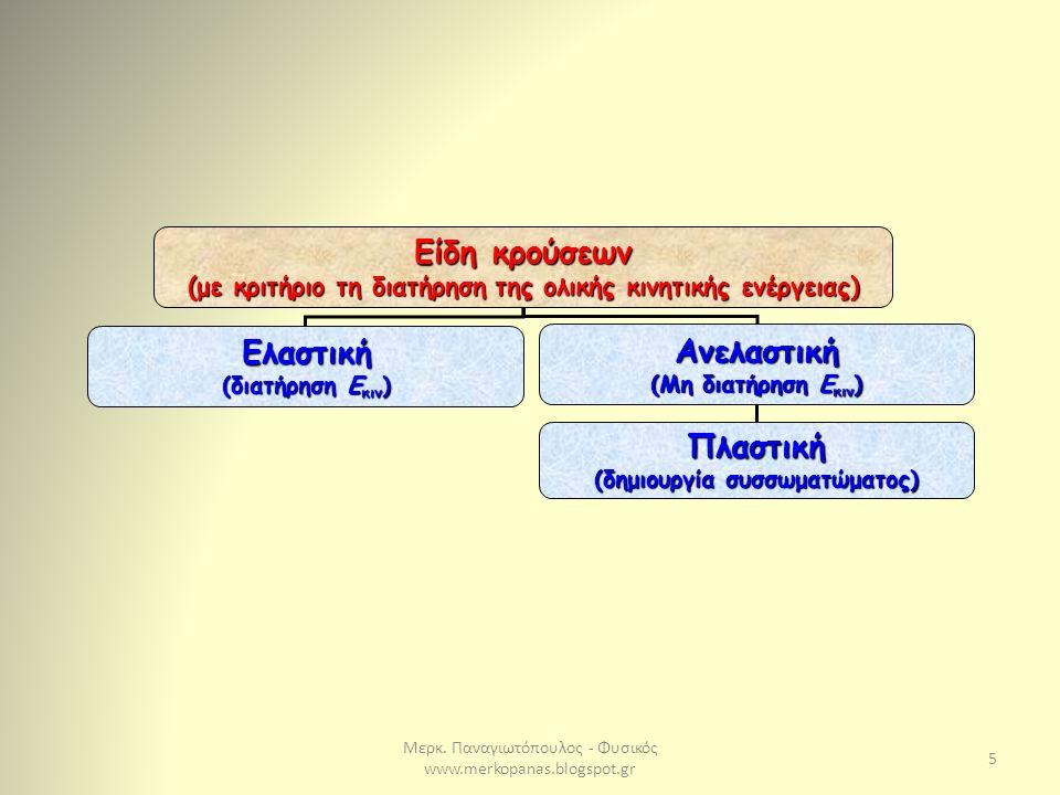 Μερκ. Παναγιωτόπουλος - Φυσικός www.merkopanas.blogspot.gr 5 Είδη κρούσεων (με κριτήριο τη διατήρηση της ολικής κινητικής ενέργειας) Ελαστική (διατήρη