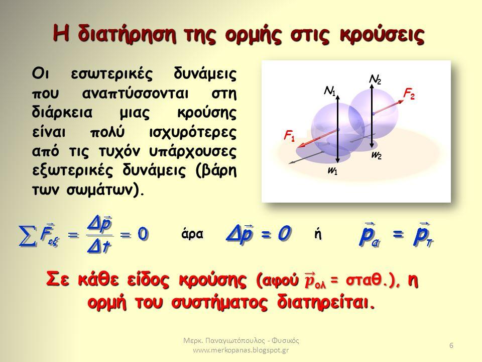 Μερκ. Παναγιωτόπουλος - Φυσικός www.merkopanas.blogspot.gr 6 Η διατήρηση της ορμής στις κρούσεις Οι εσωτερικές δυνάμεις που αναπτύσσονται στη διάρκεια