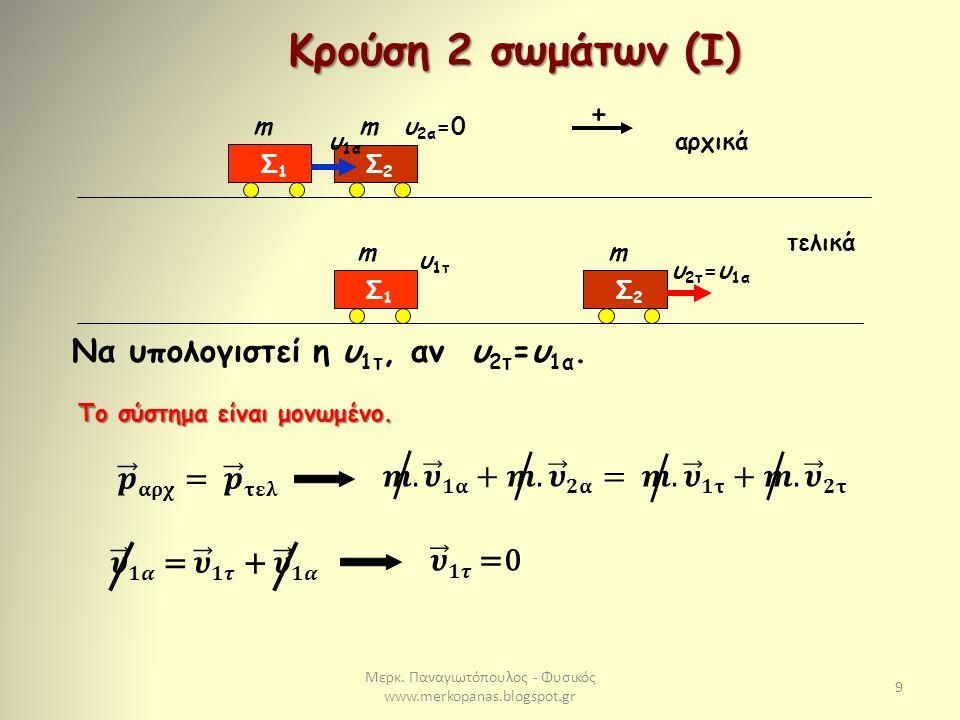Μερκ. Παναγιωτόπουλος - Φυσικός www.merkopanas.blogspot.gr 9 Κρούση 2 σωμάτων (I) Σ2Σ2 mυ 2α =0 Σ1Σ1 m υ 1α υ 1τ Σ1Σ1 m Σ2Σ2 m υ 2τ =υ 1α Να υπολογιστ