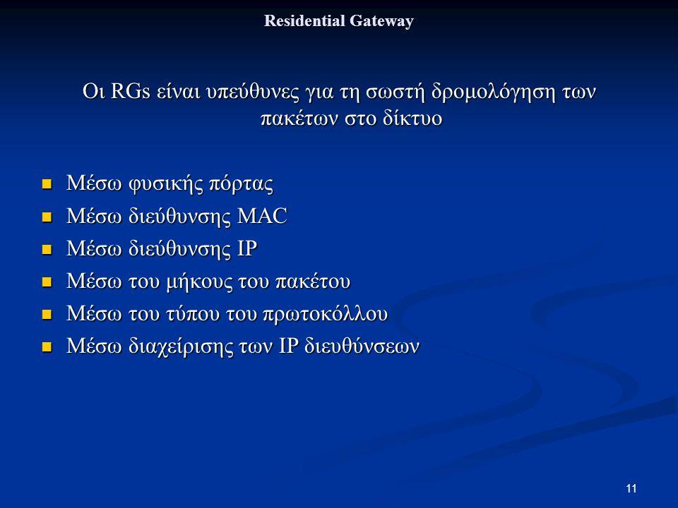 11 Residential Gateway Οι RGs είναι υπεύθυνες για τη σωστή δρομολόγηση των πακέτων στο δίκτυο Μέσω φυσικής πόρτας Μέσω φυσικής πόρτας Μέσω διεύθυνσης MAC Μέσω διεύθυνσης MAC Μέσω διεύθυνσης IP Μέσω διεύθυνσης IP Μέσω του μήκους του πακέτου Μέσω του μήκους του πακέτου Μέσω του τύπου του πρωτοκόλλου Μέσω του τύπου του πρωτοκόλλου Μέσω διαχείρισης των IP διευθύνσεων Μέσω διαχείρισης των IP διευθύνσεων