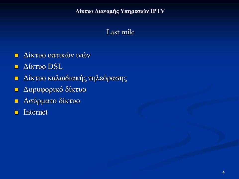 4 Δίκτυο Διανομής Υπηρεσιών IPTV Δίκτυο Διανομής Υπηρεσιών IPTV Last mile Last mile Δίκτυο οπτικών ινών Δίκτυο οπτικών ινών Δίκτυο DSL Δίκτυο DSL Δίκτυο καλωδιακής τηλεόρασης Δίκτυο καλωδιακής τηλεόρασης Δορυφορικό δίκτυο Δορυφορικό δίκτυο Ασύρματο δίκτυο Ασύρματο δίκτυο Internet Internet