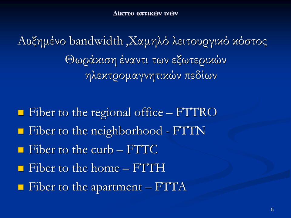 5 Δίκτυο οπτικών ινών Aυξημένο bandwidth,Xαμηλό λειτουργικό κόστος Θωράκιση έναντι των εξωτερικών ηλεκτρομαγνητικών πεδίων Fiber to the regional offic