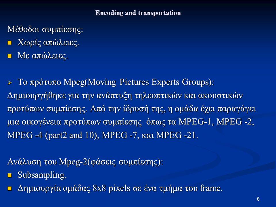 8 Encoding and transportation Μέθοδοι συμπίεσης: Χωρίς απώλειες.