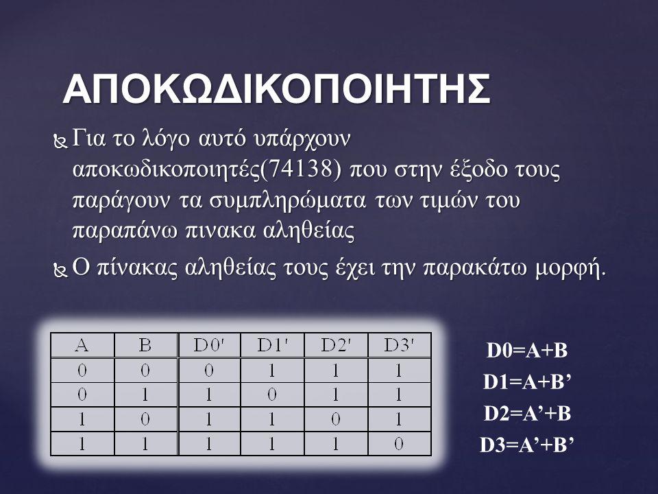  Για το λόγο αυτό υπάρχουν αποκωδικοποιητές(74138) που στην έξοδο τους παράγουν τα συμπληρώματα των τιμών του παραπάνω πινακα αληθείας  Ο πίνακας αληθείας τους έχει την παρακάτω μορφή.