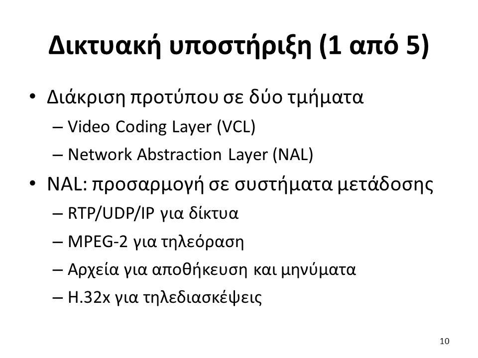 Δικτυακή υποστήριξη (1 από 5) Διάκριση προτύπου σε δύο τμήματα – Video Coding Layer (VCL) – Network Abstraction Layer (NAL) NAL: προσαρμογή σε συστήμα