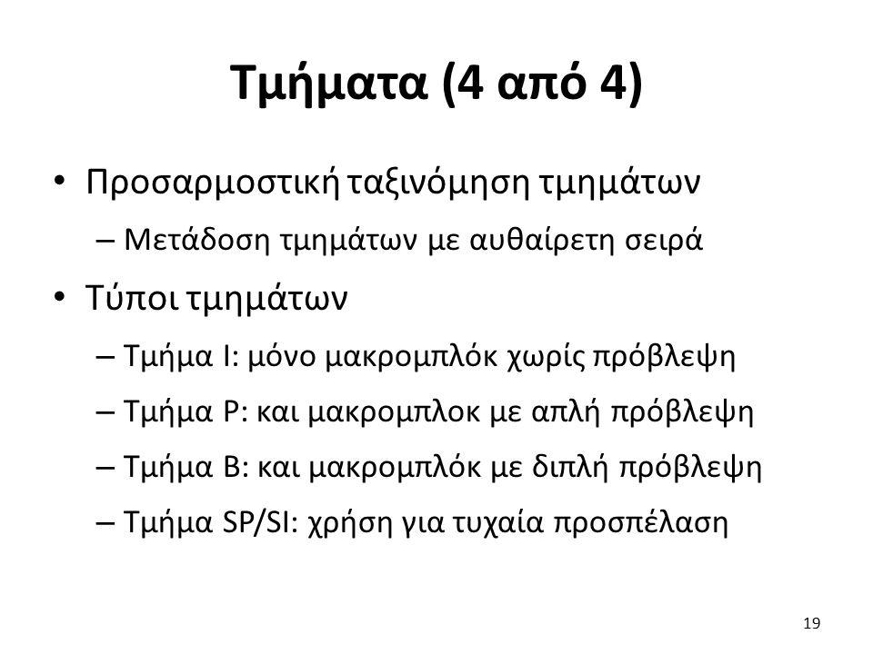Τμήματα (4 από 4) Προσαρμοστική ταξινόμηση τμημάτων – Μετάδοση τμημάτων με αυθαίρετη σειρά Τύποι τμημάτων – Τμήμα I: μόνο μακρομπλόκ χωρίς πρόβλεψη –