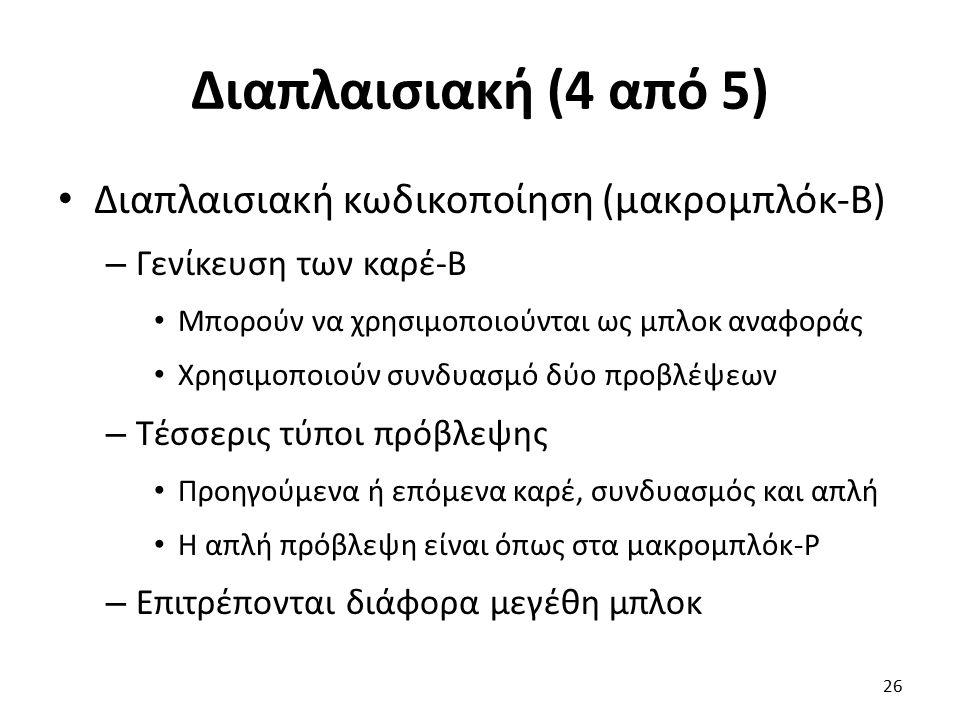 Διαπλαισιακή (4 από 5) Διαπλαισιακή κωδικοποίηση (μακρομπλόκ-B) – Γενίκευση των καρέ-B Μπορούν να χρησιμοποιούνται ως μπλοκ αναφοράς Χρησιμοποιούν συν
