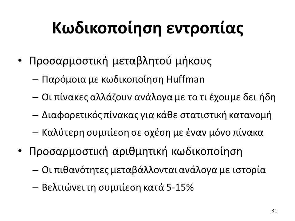 Κωδικοποίηση εντροπίας Προσαρμοστική μεταβλητού μήκους – Παρόμοια με κωδικοποίηση Huffman – Οι πίνακες αλλάζουν ανάλογα με το τι έχουμε δει ήδη – Διαφ