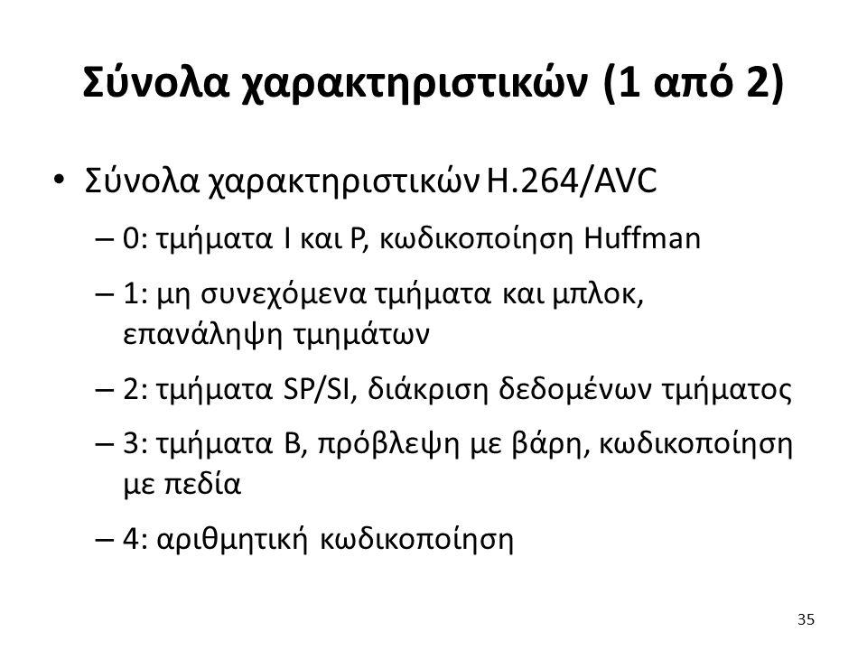 Σύνολα χαρακτηριστικών (1 από 2) Σύνολα χαρακτηριστικών H.264/AVC – 0: τμήματα I και P, κωδικοποίηση Huffman – 1: μη συνεχόμενα τμήματα και μπλοκ, επα