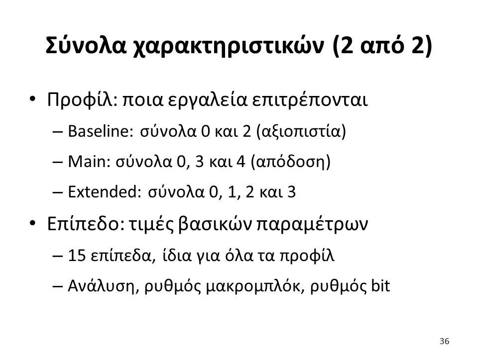 Σύνολα χαρακτηριστικών (2 από 2) Προφίλ: ποια εργαλεία επιτρέπονται – Baseline: σύνολα 0 και 2 (αξιοπιστία) – Main: σύνολα 0, 3 και 4 (απόδοση) – Exte