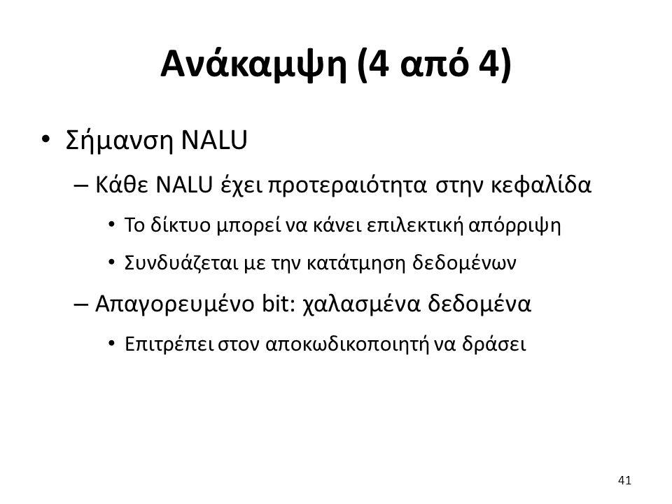 Ανάκαμψη (4 από 4) Σήμανση NALU – Κάθε NALU έχει προτεραιότητα στην κεφαλίδα Το δίκτυο μπορεί να κάνει επιλεκτική απόρριψη Συνδυάζεται με την κατάτμησ