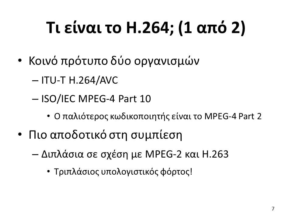 Τι είναι το H.264; (1 από 2) Κοινό πρότυπο δύο οργανισμών – ITU-T H.264/AVC – ISO/IEC MPEG-4 Part 10 Ο παλιότερος κωδικοποιητής είναι το MPEG-4 Part 2