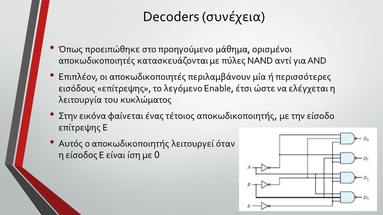 Decoders (συνέχεια) Όπως προειπώθηκε στο προηγούμενο μάθημα, ορισμένοι αποκωδικοποιητές κατασκευάζονται με πύλες NAND αντί για AND Επιπλέον, οι αποκωδικοποιητές περιλαμβάνουν μία ή περισσότερες εισόδους «επίτρεψης», το λεγόμενο Enable, έτσι ώστε να ελέγχεται η λειτουργία του κυκλώματος Στην εικόνα φαίνεται ένας τέτοιος αποκωδικοποιητής, με την είσοδο επίτρεψης Ε Αυτός ο αποκωδικοποιητής λειτουργεί όταν η είσοδος Ε είναι ίση με 0