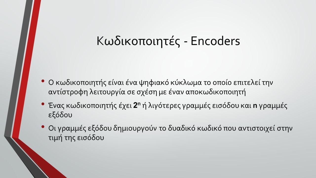 Κωδικοποιητές - Encoders Ο κωδικοποιητής είναι ένα ψηφιακό κύκλωμα το οποίο επιτελεί την αντίστροφη λειτουργία σε σχέση με έναν αποκωδικοποιητή Ένας κωδικοποιητής έχει 2 n ή λιγότερες γραμμές εισόδου και n γραμμές εξόδου Οι γραμμές εξόδου δημιουργούν το δυαδικό κωδικό που αντιστοιχεί στην τιμή της εισόδου