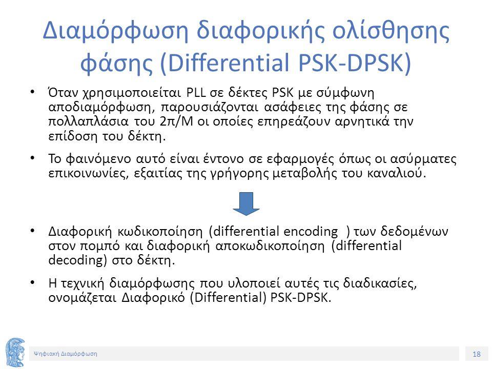 18 Ψηφιακή Διαμόρφωση Διαμόρφωση διαφορικής ολίσθησης φάσης (Differential PSK-DPSK) Όταν χρησιμοποιείται PLL σε δέκτες PSK με σύμφωνη αποδιαμόρφωση, παρουσιάζονται ασάφειες της φάσης σε πολλαπλάσια του 2π/Μ οι οποίες επηρεάζουν αρνητικά την επίδοση του δέκτη.