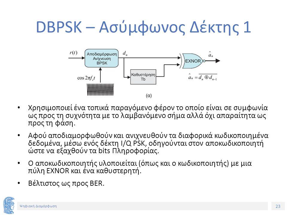 23 Ψηφιακή Διαμόρφωση DBPSK – Ασύμφωνος Δέκτης 1 Χρησιμοποιεί ένα τοπικά παραγόμενο φέρον το οποίο είναι σε συμφωνία ως προς τη συχνότητα με το λαμβανόμενο σήμα αλλά όχι απαραίτητα ως προς τη φάση.