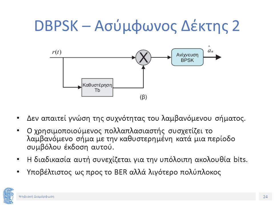 24 Ψηφιακή Διαμόρφωση DBPSK – Ασύμφωνος Δέκτης 2 Δεν απαιτεί γνώση της συχνότητας του λαμβανόμενου σήματος. Ο χρησιμοποιούμενος πολλαπλασιαστής συσχετ