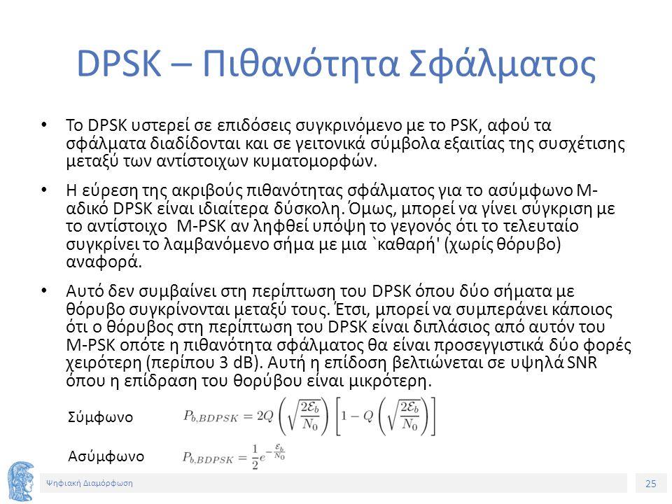 25 Ψηφιακή Διαμόρφωση DPSK – Πιθανότητα Σφάλματος To DPSK υστερεί σε επιδόσεις συγκρινόμενο με το PSK, αφού τα σφάλματα διαδίδονται και σε γειτονικά σύμβολα εξαιτίας της συσχέτισης μεταξύ των αντίστοιχων κυματομορφών.
