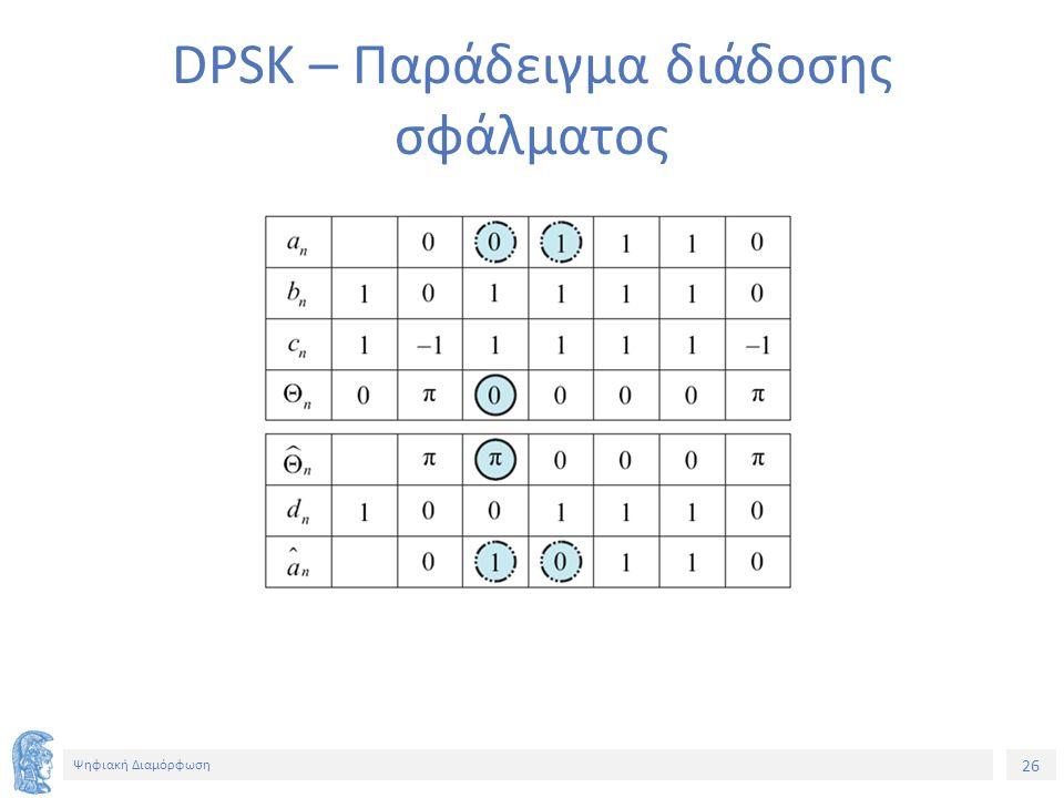 26 Ψηφιακή Διαμόρφωση DPSK – Παράδειγμα διάδοσης σφάλματος