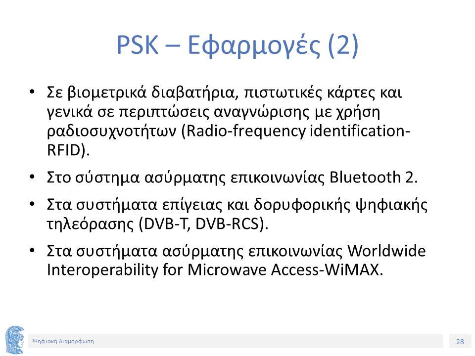 28 Ψηφιακή Διαμόρφωση PSK – Εφαρμογές (2) Σε βιομετρικά διαβατήρια, πιστωτικές κάρτες και γενικά σε περιπτώσεις αναγνώρισης με χρήση ραδιοσυχνοτήτων (Radio-frequency identification- RFID).