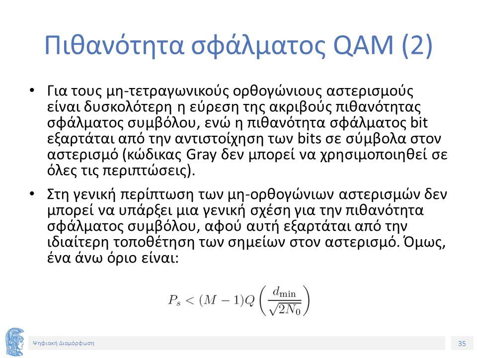 35 Ψηφιακή Διαμόρφωση Πιθανότητα σφάλματος QAM (2) Για τους μη-τετραγωνικούς ορθογώνιους αστερισμούς είναι δυσκολότερη η εύρεση της ακριβούς πιθανότητ