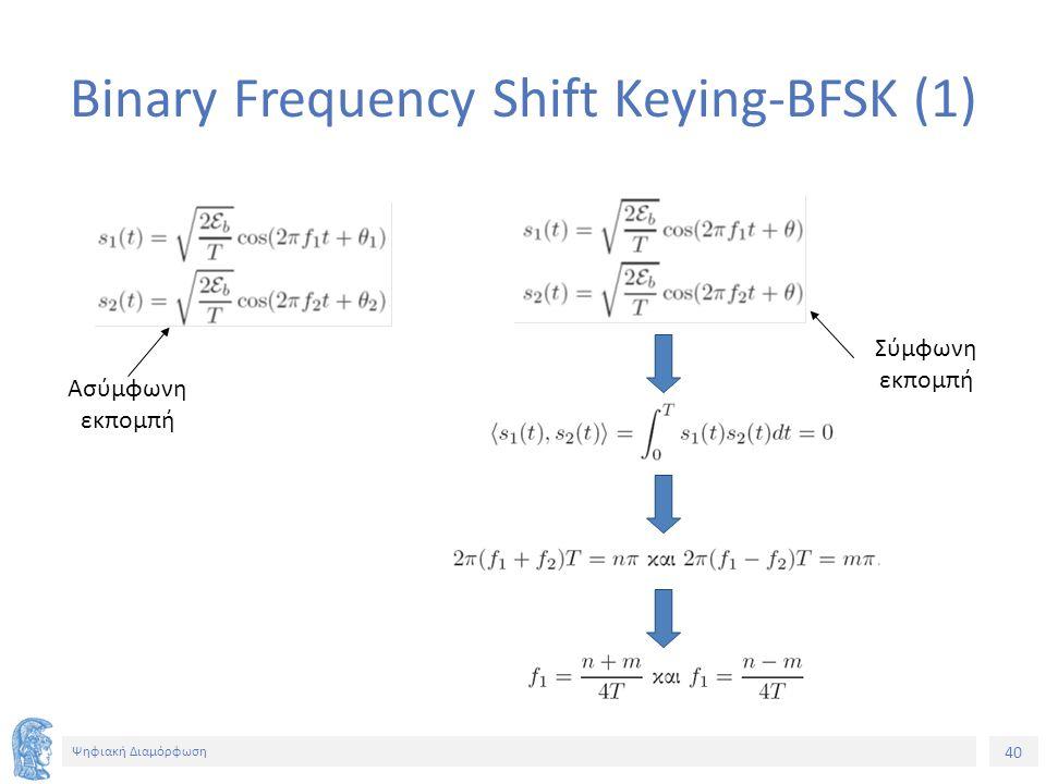 40 Ψηφιακή Διαμόρφωση Binary Frequency Shift Keying-BFSK (1) Ασύμφωνη εκπομπή Σύμφωνη εκπομπή