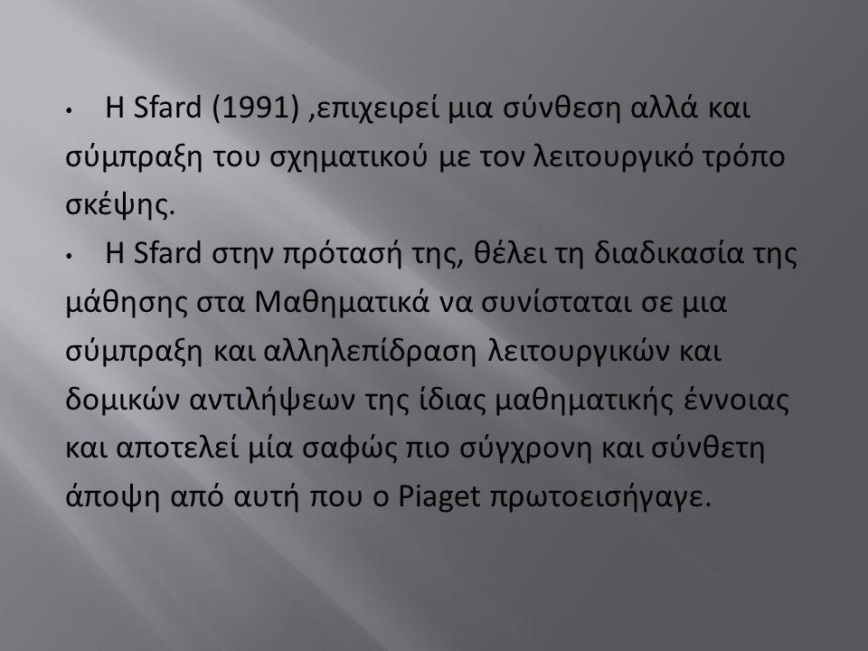 Η Sfard (1991),επιχειρεί μια σύνθεση αλλά και σύμπραξη του σχηματικού με τον λειτουργικό τρόπο σκέψης.