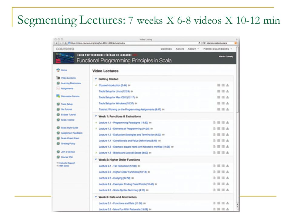 Segmenting Lectures: 7 weeks X 6-8 videos X 10-12 min