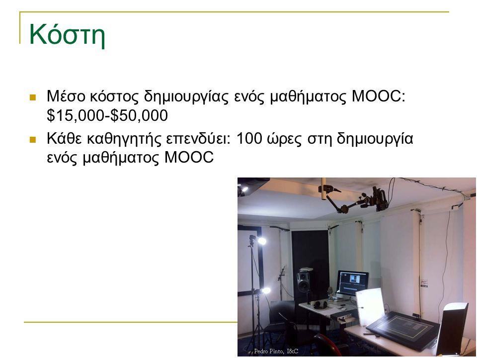 Κόστη Μέσο κόστος δημιουργίας ενός μαθήματος MOOC: $15,000-$50,000 Κάθε καθηγητής επενδύει: 100 ώρες στη δημιουργία ενός μαθήματος MOOC
