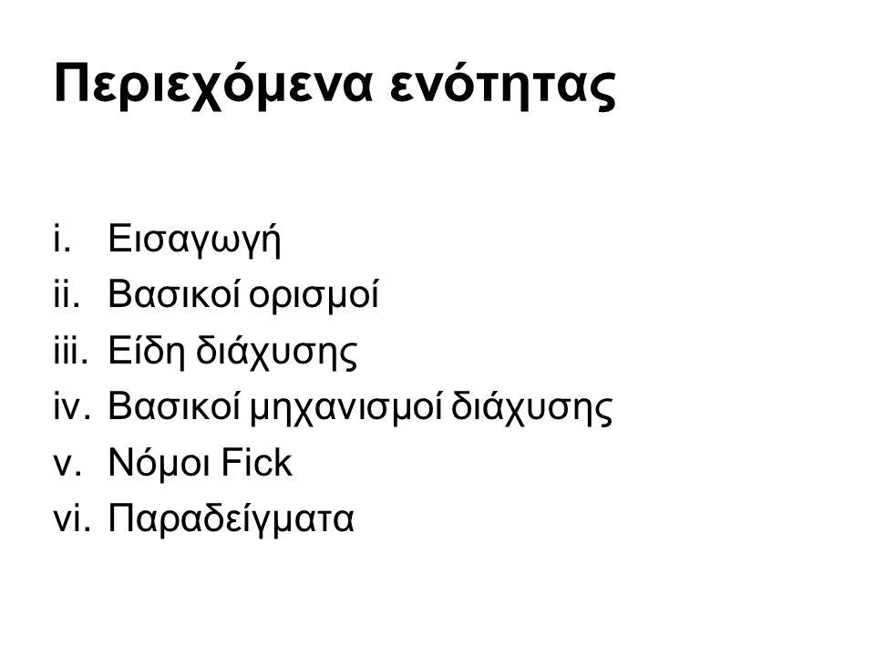 Περιεχόμενα ενότητας i.Εισαγωγή ii.Βασικοί ορισμοί iii.Είδη διάχυσης iv.Βασικοί μηχανισμοί διάχυσης v.Νόμοι Fick vi.Παραδείγματα