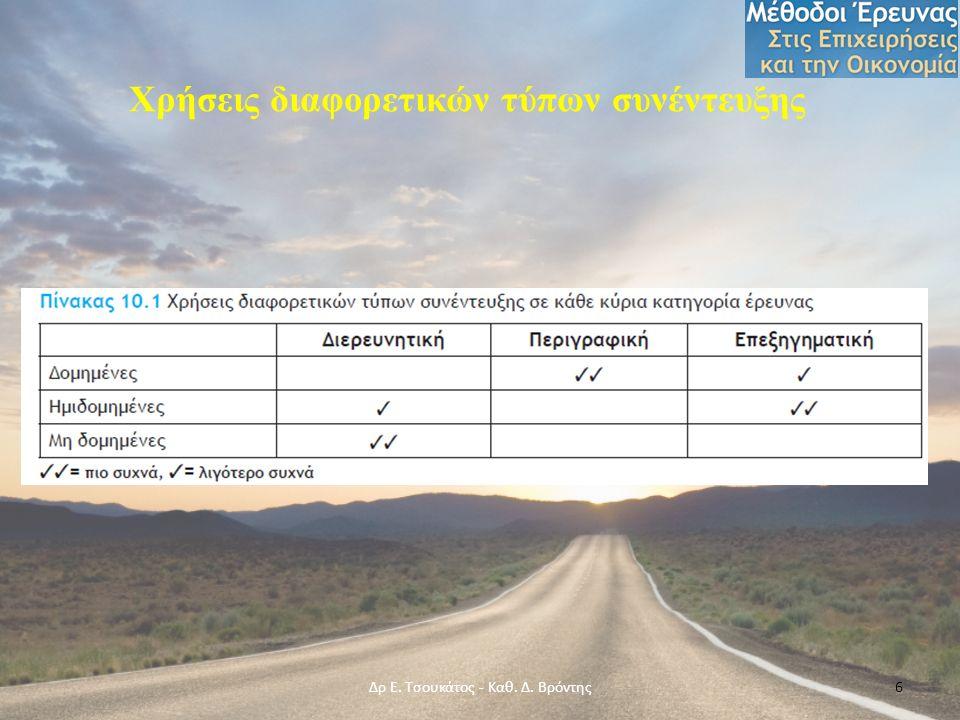 Χρήσεις διαφορετικών τύπων συνέντευξης Δρ Ε. Τσουκάτος - Καθ. Δ. Βρόντης6