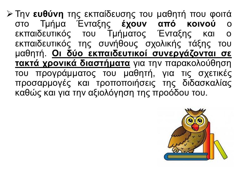 Εκπαιδευτικός Παράλληλης Στήριξης – Συνεκπαίδευσης  Υλοποιεί το εξατομικευμένο εκπαιδευτικό πρόγραμμα μέσα και έξω από την τάξη και είναι συνολικά υπεύθυνοι για όλες τις δραστηριότητες της σχολικής ζωής (διαλείμματα, επισκέψεις, εκδηλώσεις κ.λπ.) στις οποίες συμμετέχει ο μαθητής.