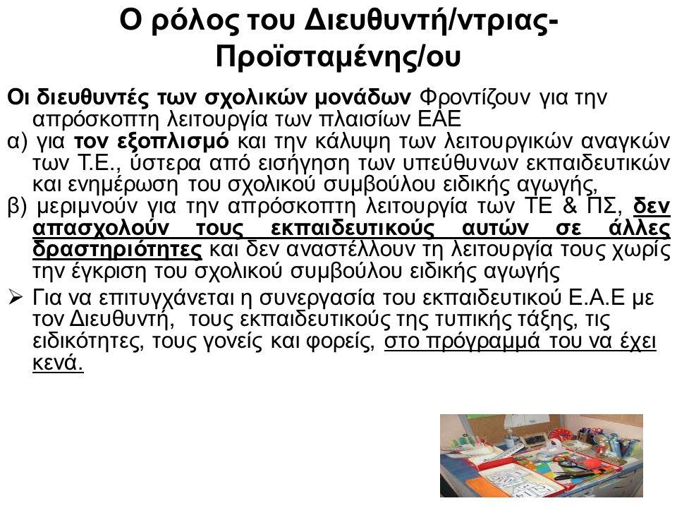 Ο ρόλος του Διευθυντή/ντριας- Προϊσταμένης/ου Οι διευθυντές των σχολικών μονάδων Φροντίζουν για την απρόσκοπτη λειτουργία των πλαισίων ΕΑΕ α) για τον εξοπλισμό και την κάλυψη των λειτουργικών αναγκών των Τ.Ε., ύστερα από εισήγηση των υπεύθυνων εκπαιδευτικών και ενημέρωση του σχολικού συμβούλου ειδικής αγωγής, β) μεριμνούν για την απρόσκοπτη λειτουργία των ΤΕ & ΠΣ, δεν απασχολούν τους εκπαιδευτικούς αυτών σε άλλες δραστηριότητες και δεν αναστέλλουν τη λειτουργία τους χωρίς την έγκριση του σχολικού συμβούλου ειδικής αγωγής  Για να επιτυγχάνεται η συνεργασία του εκπαιδευτικού Ε.Α.Ε με τον Διευθυντή, τους εκπαιδευτικούς της τυπικής τάξης, τις ειδικότητες, τους γονείς και φορείς, στο πρόγραμμά του να έχει κενά.