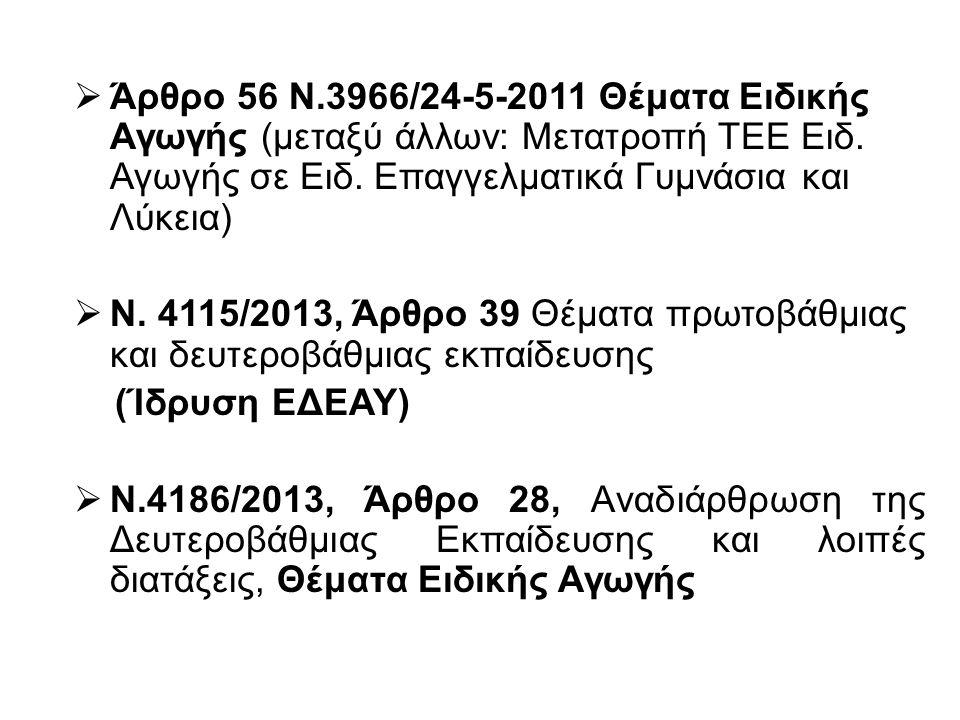  Άρθρο 56 Ν.3966/24-5-2011 Θέματα Ειδικής Αγωγής (μεταξύ άλλων: Μετατροπή ΤΕΕ Ειδ.