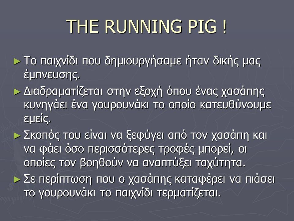 THE RUNNING PIG . ► Το παιχνίδι που δημιουργήσαμε ήταν δικής μας έμπνευσης.