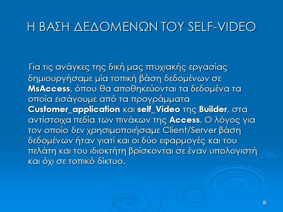 9 Η ΒΑΣΗ ΔΕΔΟΜΕΝΩΝ ΤΟΥ SELF-VIDEO Για τις ανάγκες της δική μας πτυχιακής εργασίας δημιουργήσαμε μία τοπική βάση δεδομένων σε MsAccess, όπου θα αποθηκεύονται τα δεδομένα τα οποία εισάγουμε από τα προγράμματα Customer_application και self_Video της Builder, στα αντίστοιχα πεδία των πινάκων της Access.