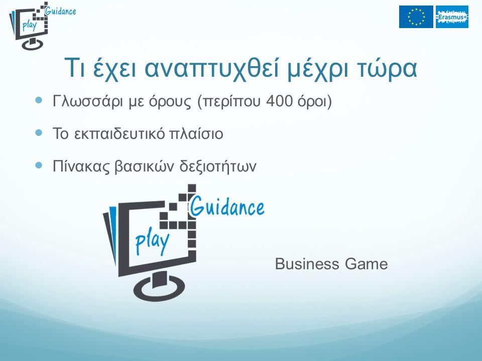 Τι έχει αναπτυχθεί μέχρι τώρα Γλωσσάρι με όρους (περίπου 400 όροι) Το εκπαιδευτικό πλαίσιο Πίνακας βασικών δεξιοτήτων Business Game
